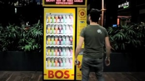 Tweet-activated vending machine BEV by BOS