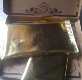 Victory Tea's stylish gold foil packaging